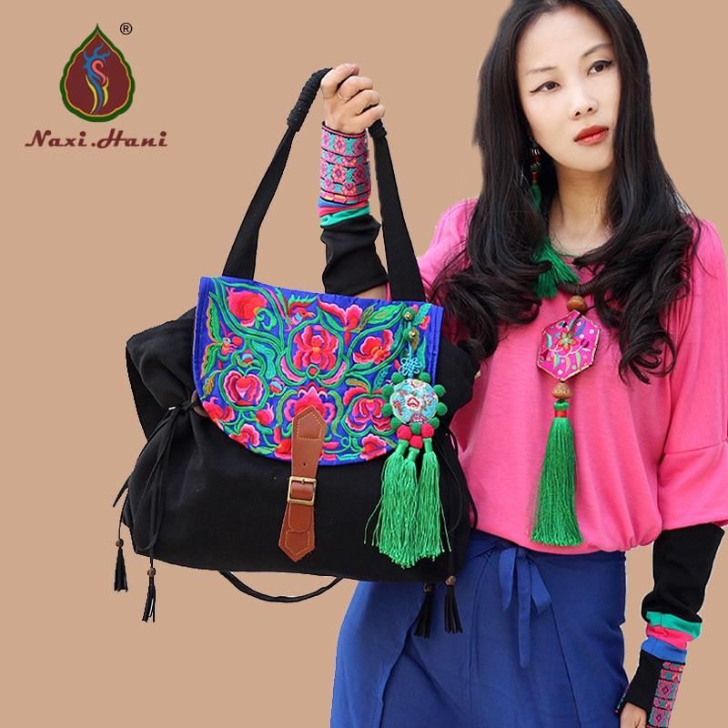 ФОТО  Naxi.Hani brand black canvas blue embroidery cover tassel women handbags Exotic Leather buckles shoulder messenger bags