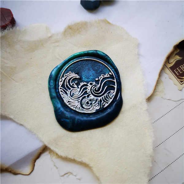 แสตมป์หัว Sea Wave ซีลแสตมป์ไม้ Retro Wax Seal Stamp งานแต่งงานตกแต่งประทับตราประทับตราขี้ผึ้ง