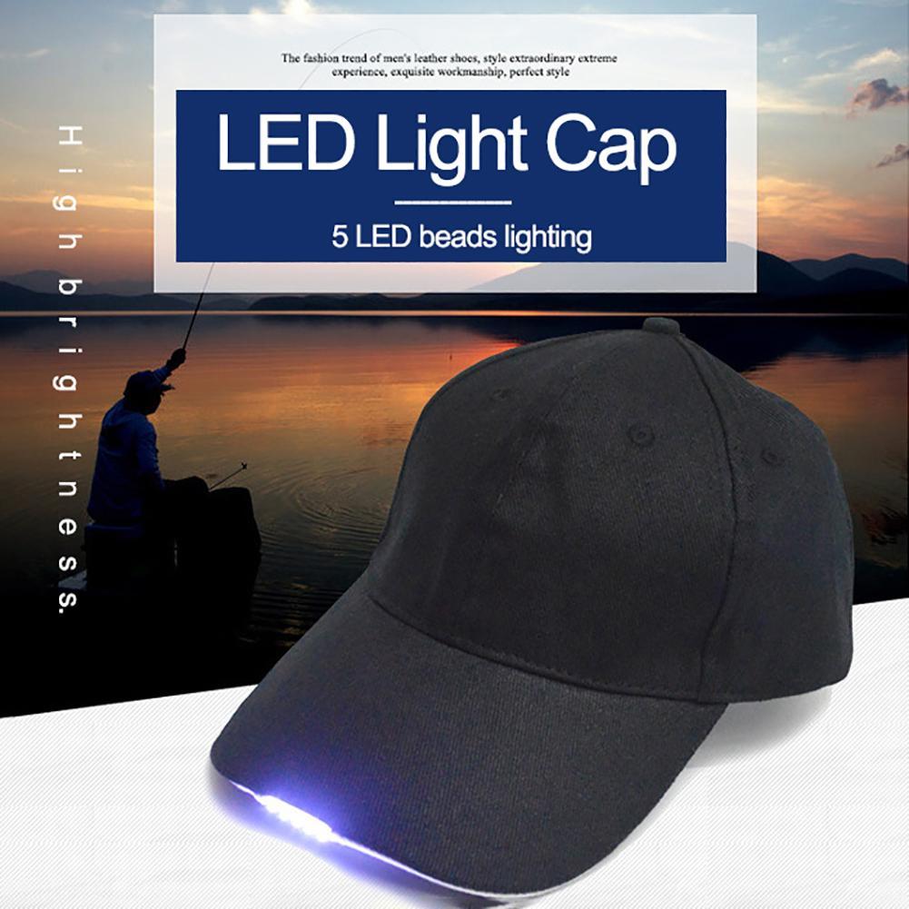 Lights & Lighting Led Lighting New Unisex Led Baseball Cap Outdoor 5-led Light Hat Sport Fishing Camping Running Baseball Cap Black/blue For Adult Dropshipping