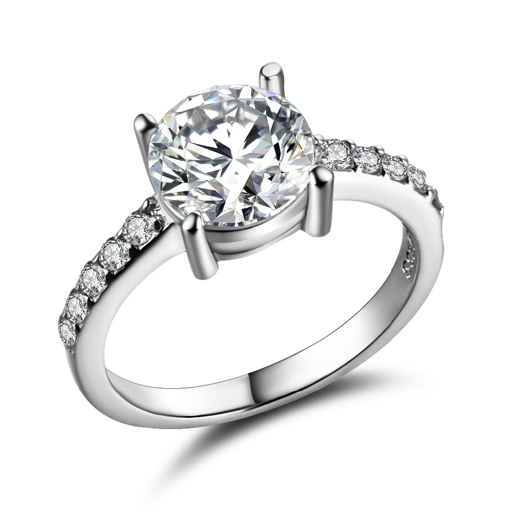 hhyde white gold color wedding engagement ring for women huge cz crystal jewelry gift - Huge Wedding Ring