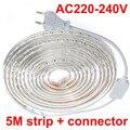5M/set Waterproof Daylight 220V 5050 SMD 60 LED Flexible Strip Light ,warm white/Cool white,60leds/m waterproof