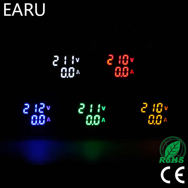 Mini cyfrowy woltomierz amperomierz 22mm kwadratowe AC 20-500 V 0-100A wzmacniacza Volt Tester napięcia miernik podwójny wskaźnik LED lampa na pilota światła