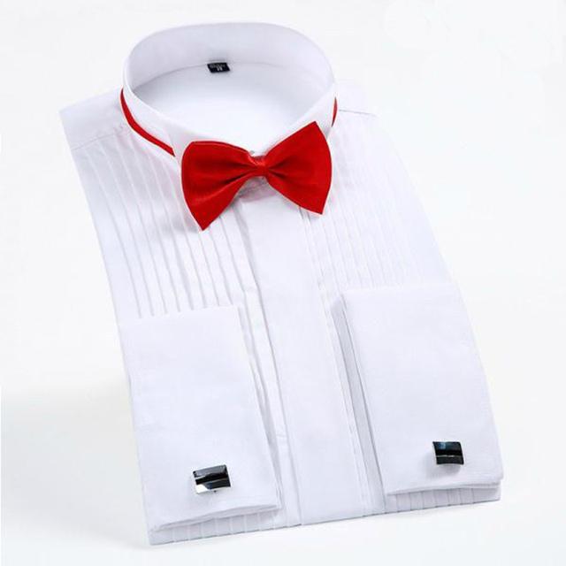 2017 Diseño Clásico Hombres Camisas de Puño Francés de La Boda del Smoking de Los Hombres Camisa de Manga Larga de Los Hombres Camisas de Vestir Formales Novio