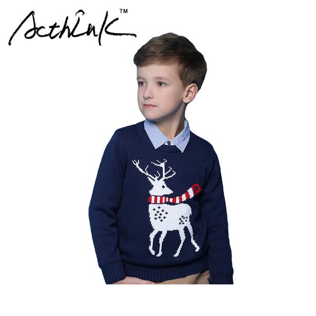 ActhInK Nova Crianças Veados Camisola De Lã Malhas Pullover Sólida para Meninos Elk para Meninas Crianças Roupas de Marca de Estilo Europeu, MC021