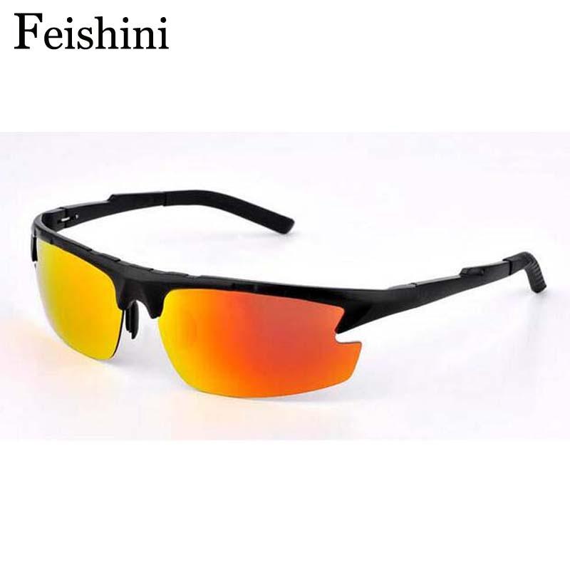 FEISHINI Marque Aviation En Aluminium-Alliage De Magnésium lunettes de  Soleil Hommes Polarisée UV400 Mode Semi-sans monture de Lunettes De Soleil  Hommes ... 69a15a495789