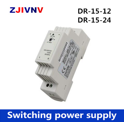DR-15-12 <font><b>24V</b></font> 15W <font><b>ac</b></font> to <font><b>dc</b></font> <font><b>Din</b></font> rail mounted Power supply 12V <font><b>24V</b></font> <font><b>Din</b></font> rail switching power supply single output image