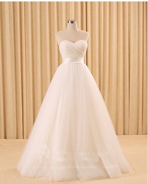 A-line Tulle Simple White Wedding Dress 4