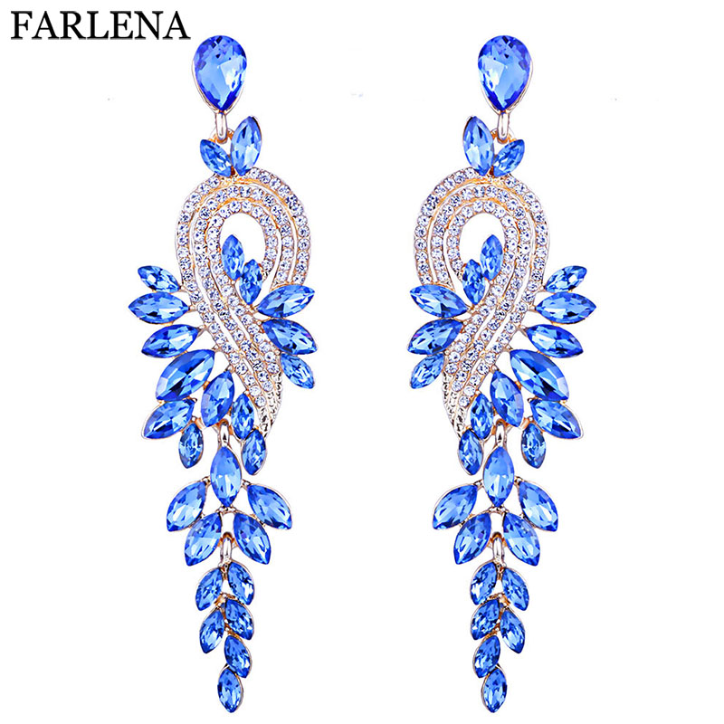 Earings fashion jewelry Luxury crystal leaf large earrings long drop earrings for women wedding party jewelry accessory pair of chic faux crystal waterdrop leaf earrings for women