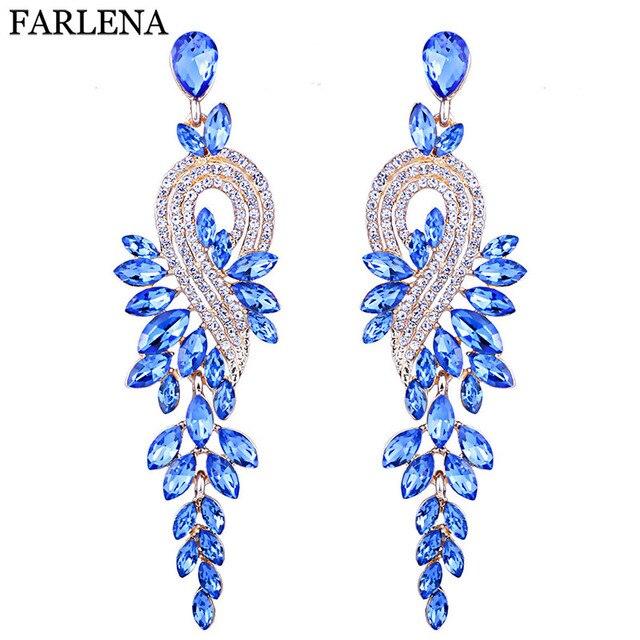 FARLENA Jewelry Multicolor Crystal Feather shaped Drop Earrings for Women Weddin