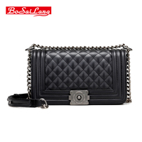 Famous Brand Genuine Leather Ladies Messenger Bags With High Quality Small Real Cowhide Women Shoulder Bags