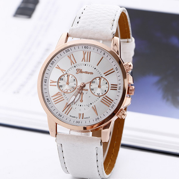 2017 New Fashion Geneva Watches Roman Numerals Faux Leather Quartz Watch Women Men Casual Wrist Watch relogios feminino Hours 1