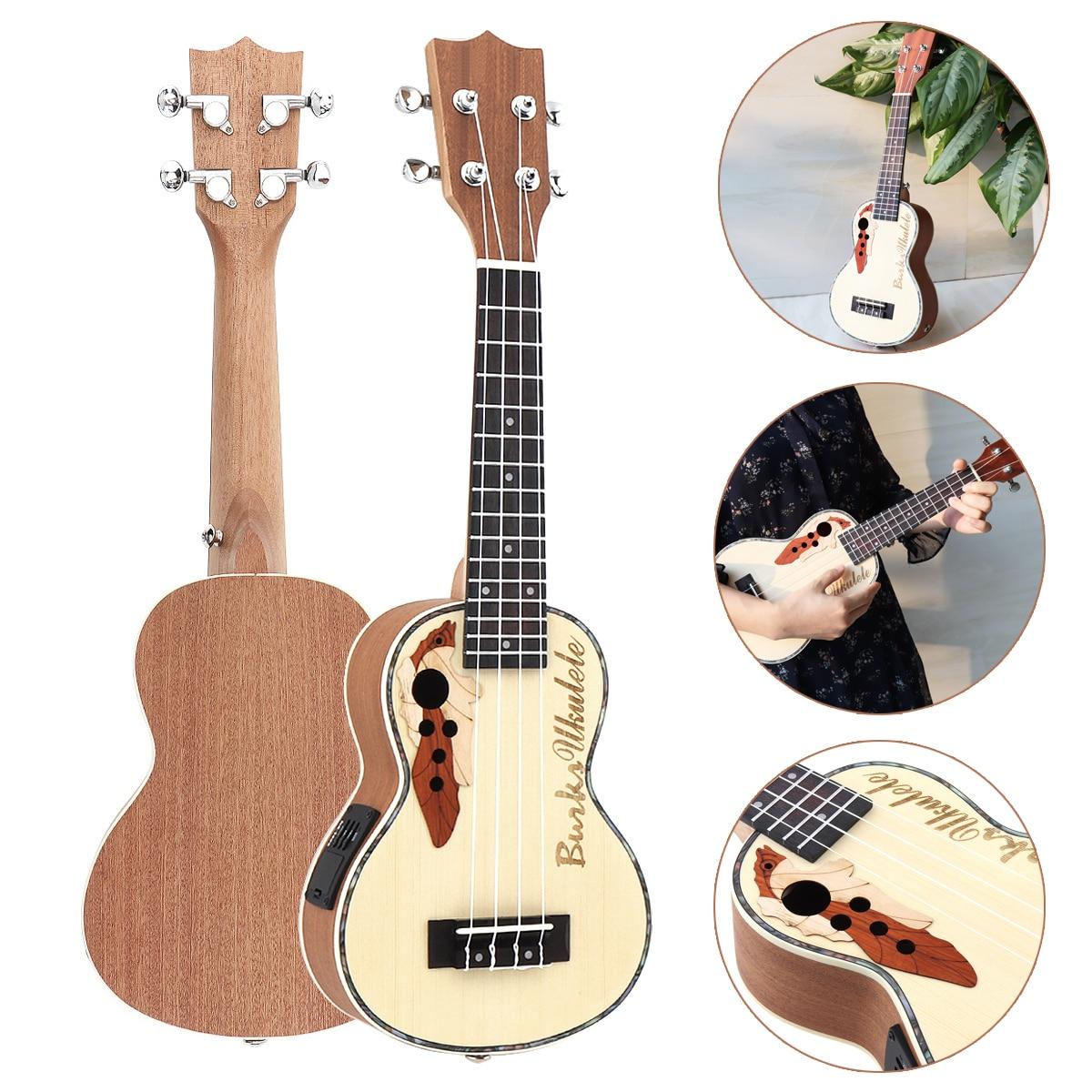 21 pouces épicéa EQ Soprano Ukelele 15 frette électroacoustique 4 cordes guitare avec micro égaliseur intégré pour les mélomanes