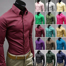 2017 Brand Men Shirts British Style Slim Fit Casual Long Sleeve Solid Business Male Social Cotton Dress