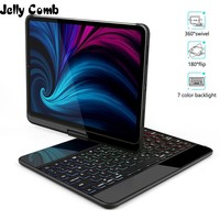 Jelly Comb Wireless Bluetooth Keyboard Case for iPad Pro 11 2018 Keyboard Cover 360° degree Rotatable Wireless Auto Wake Sleep