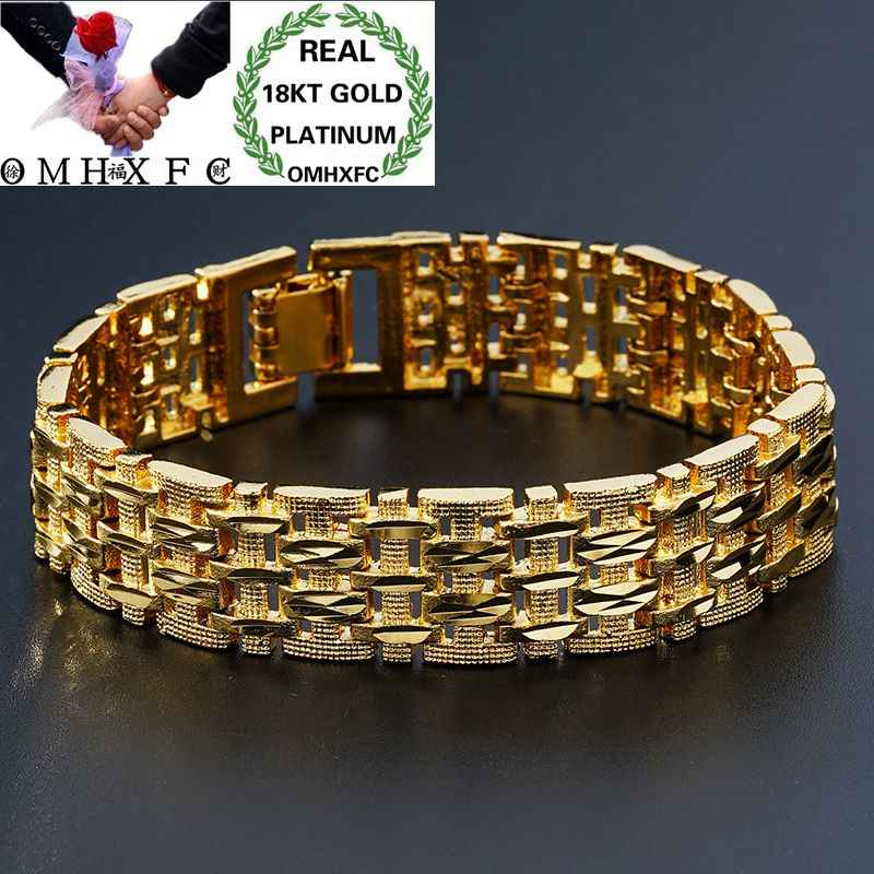 OMHXFCขายส่งยุโรปแฟชั่นชายวันเกิดงานแต่งงานของขวัญVintageกว้างนาฬิกา18KT Goldสร้อยข้อมือBE166