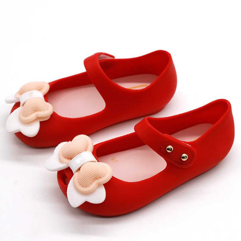 14-17 cm מיני חמוד קשתות ג 'לי בנות סנדלי תינוק בנות סנדלי Sapato Infantil רך PVC ילדי בנות נעליים bowtie
