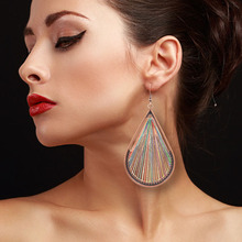 Major European and American Fashion Creative Droplet Hand-woven Gold Wire Earrings Temperament Accessories