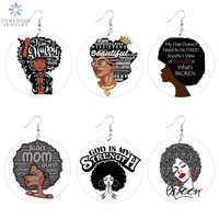 SOMESOOR-pendientes de gota de madera con diseño de Reina africana para mujer, aretes colgantes con pelo Afro Natural inteligente, color negro