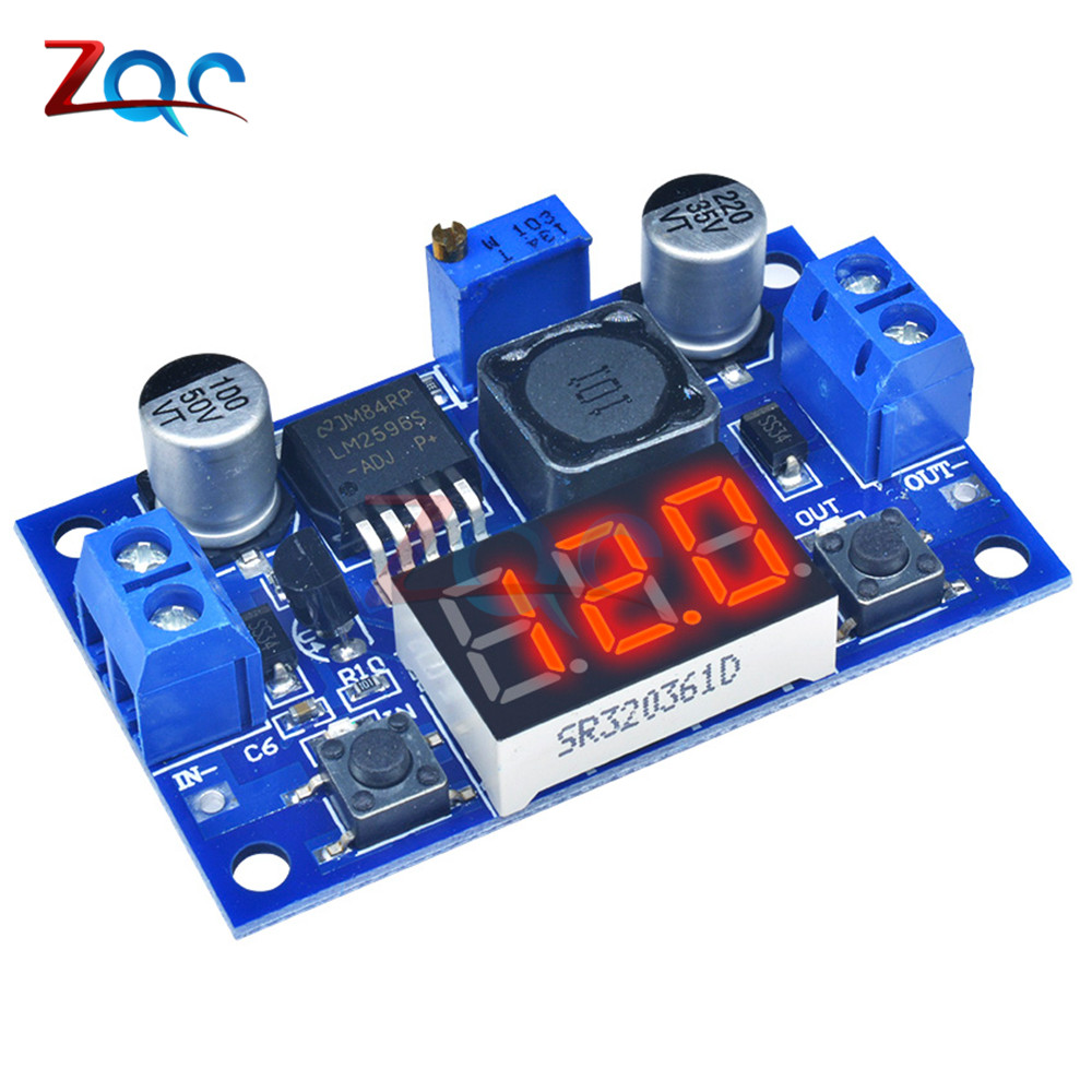 DC-DC Buck Step Down Module LM2596 DC/DC 4.0~40V to 1.25-37V Adjustable Voltage Regulator With LED Voltmeter