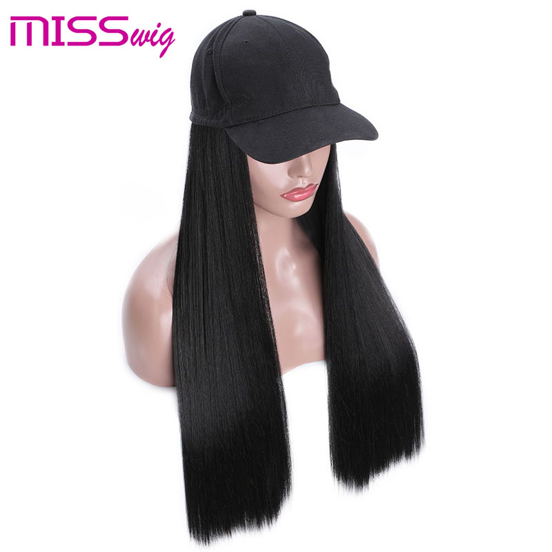 MISSWIG Long Straight Hat Wig Black Brown 2color Available Wigs And Hat Naturally Connect Synthetic Hair For Women Full Headgear