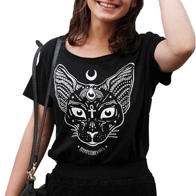 Women's Gothic Cat Printed T-shirt