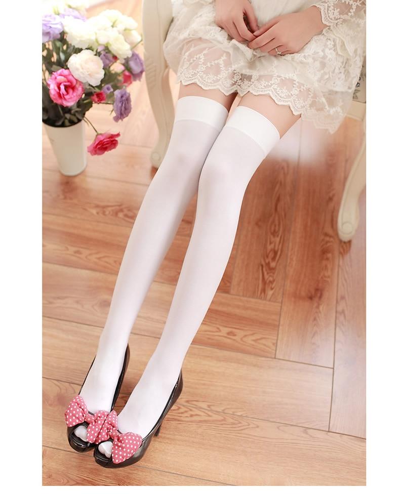 Nya sammet nylon kvinnor över knästrumpor solida ränder svarta - Underkläder - Foto 6