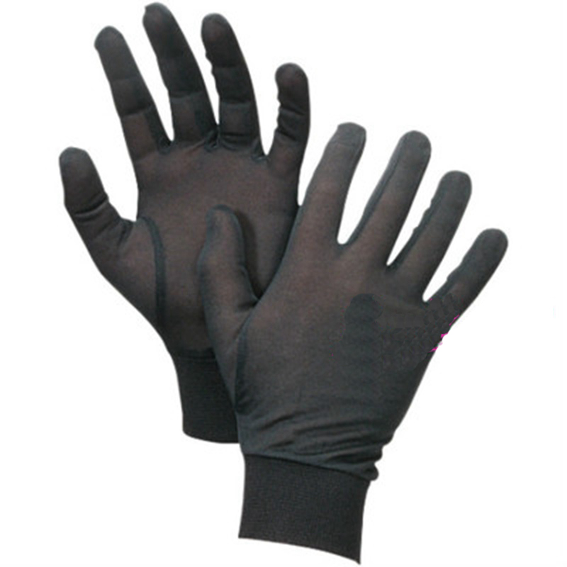 Black Pure Silk Liner Gloves Thermal Outdoor Ski Cycling Motorcycle Gloves S