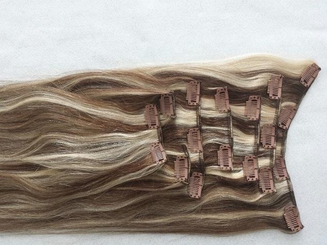24 gram 80 inch Brasileño de la virgen del pelo clip en la extensión 8 unids/set Piano Color #6/60 remy del pelo humano de Aliexpress extensiones de cabello