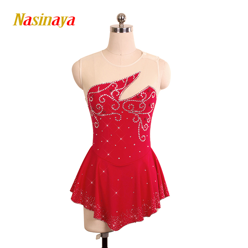 Customized Costume Ice Figure Skating Gymnastics Dress Competition Adult Child Girl Skirt Performance Red Rhinestore Border vik max adult kids dark blue leather figure skate shoes with aluminium alloy frame and stainless steel ice blade
