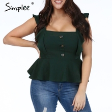 Peplum Tops Women Blouse Simplee Ruffled Summer Shirt Sexy Female Plus-Size Ladies Solid