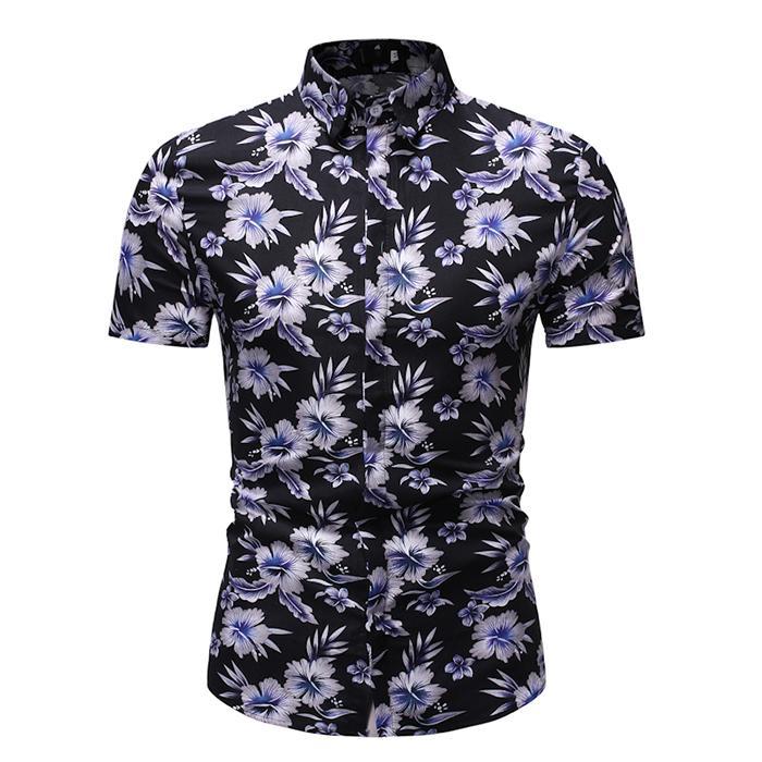 Casual Blouse Men Floral Short Sleeve Fashion Hawaiian Shirt For Men Slim Fit Social Men's Shirts Summer New