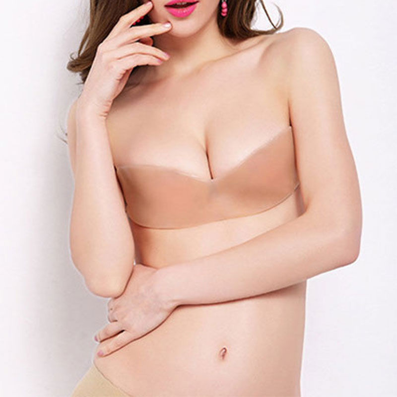Deruilady New Invisible Bra Strapless One-piece Half Cup Bras For Women Seamless Breathable Silicone Bra Backless Push Up Bras