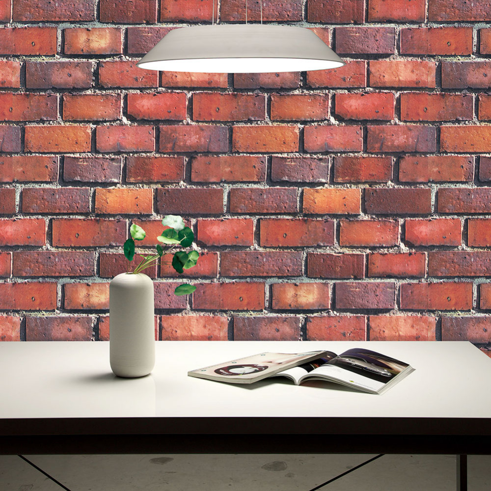 HaokHome Faux Brick Wallpaper Rolls Red/Black/Grey Textured 3D Wall Decoration 20.8