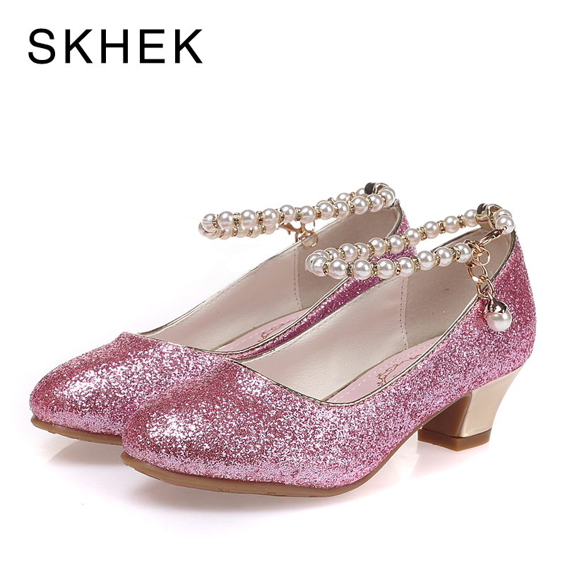 SKHEK Kids High Heel Shoes For Girls Party Shoe Beaded Lace Wedding Children Shoes Leather Princess Shoe Red White Size 28-36