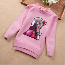 New 2017 Autumn Sweet Princess Wool Casual Pullover Knitted Sweater Cute Pattern O-Neck Girls Clothes Warm Winter For Kids S144