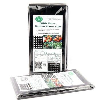 2 torby 5 otworów 95cm * 10m ogród Film roślin rolniczych warzyw czarny Film z tworzywa sztucznego perforowane PE Film ściółkowy ściółkowanie membrana tanie i dobre opinie Tewango 0 95meters 10meters Black Perforated Film Home Garden Use Original Pack In Bag