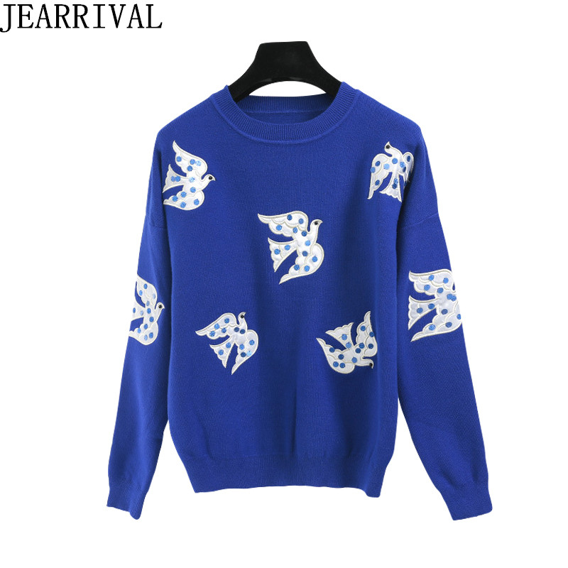 2017 New Fashion Women Sweaters Brand Designer Pigeon Embroidery Casual Long O-Neck Pullovers Knitted Sweater Jumper Tops