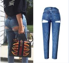2017 New Sexy Hip Line Hole Ripped Jeans Woman High Waist Slim Straight Jeans Women Pencil Pants Jeans Femme Mujer