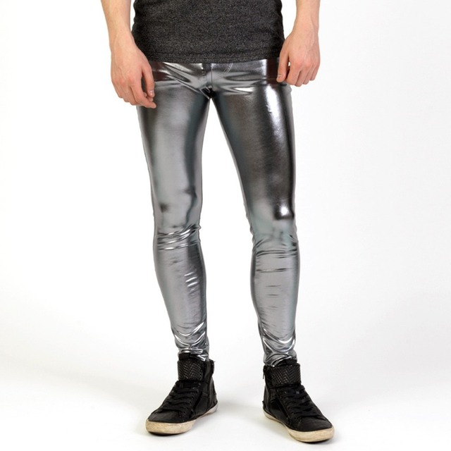 Men Shiny Lycra Leggings Fashion Metallic Spandex Full Length Man Meggings Leggings Tights for Guys