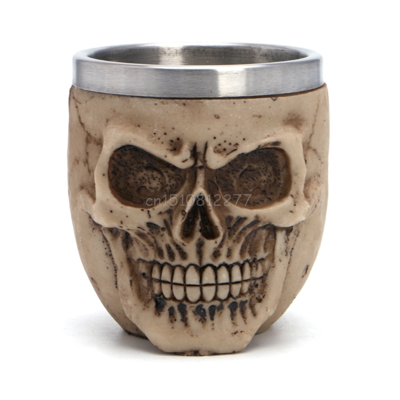 Stainless Steel Resin Drinking Mug Skeleton Skull Coffee Cup Halloween Decor H0VH