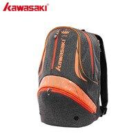 KAWASAKI Sports Backpack Larger Capacity 2Pcs Back Pack Badminton Shoulder Rackets Bag Tennis Racket for Men Women KBB 8258