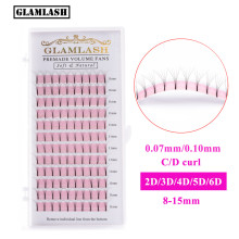 GLAMLASH 2D-6D Russia Volume Long Stem False Lashes Korea Silk Individual Eyelash Extension Handmade Natural Mink