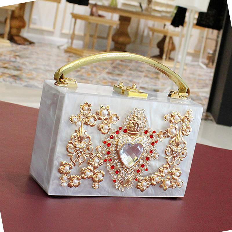 Luxury fashion pearl red hearts Handbag diamond acrylic ladies Shoulder bag party totes messenger bag flap