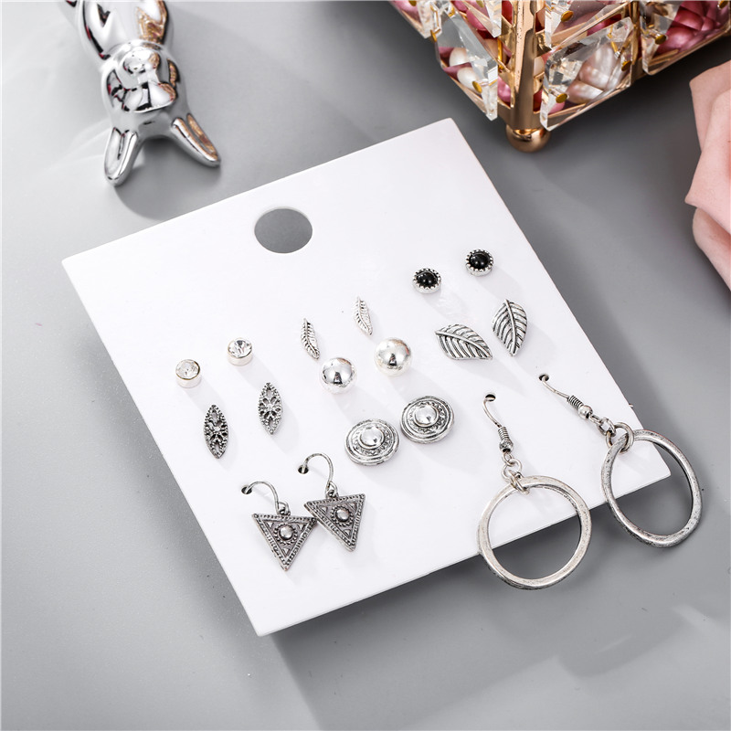 Bohemian Leaf Triangle Stud Earrings Set For Women Vintage 9Pairs Sets Crystal Round Earring Sets Statement Jewelry 2019 New in Stud Earrings from Jewelry Accessories