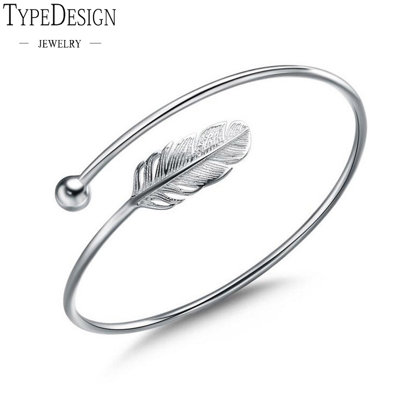 Ladies Fashion 925 anillos Silver Bangle Bracelet Chic Silver Feather Simple Angel Bangle Ladies Stylish Bracelet 999 Silver bangle