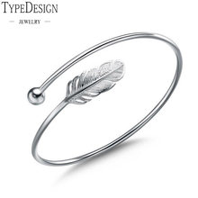 266a9e25a21 Ladies fashion 925 sterling silver bangle bracelet Chic Silver feather  Simple angel bangle ladies stylish bracelet 999 silver