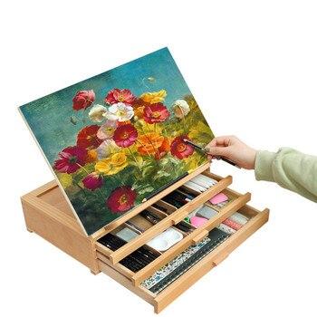 Caballete de tres capas con cajón, Pintura al óleo artística, para mesa...