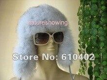 Женщины реально лисий мех шляпы / шапки полностью ручной работы ( естественная синий ) 3 #