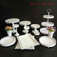 white high quality cake stand 13 pieces in set dessert table wedding party shower event supplier sweet table cake decoration