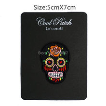 Colorful Skull Punk patches badges for clothing iron embroidered applique iron on patches sewing accessories for clothes(China)